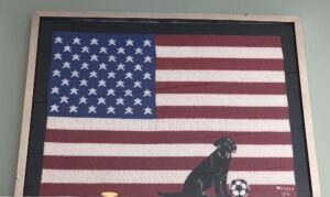 Flag with grand dog